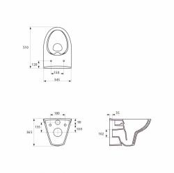 AKCE/SET/GEBERIT - Duofix pro závěsné WC 111.300.00.5 bez ovládací desky + WC CERSANIT PARVA NEW CLEANON + Sedátko (111.300.00.5 PA2), fotografie 4/7