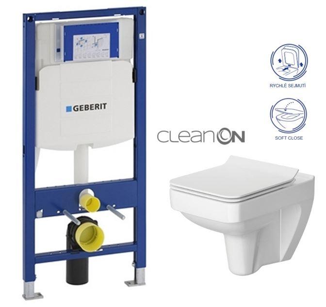 AKCE/SET/GEBERIT - Duofix pro závěsné WC 111.300.00.5 bez ovládaví desky + WC CERSANIT SPLENDOUR CLEANON + Sedátko (111.300.00.5 SP1)