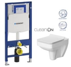 AKCE/SET/GEBERIT - SET Duofix pro závěsné WC 111.300.00.5 bez ovládací desky + WC CERSANIT SPLENDOUR CLEANON + Sedátko (111.300.00.5 SP1)