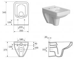 AKCE/SET/GEBERIT - SET Duofix pro závěsné WC 111.300.00.5 bez ovládací desky + WC CERSANIT SPLENDOUR CLEANON + Sedátko (111.300.00.5 SP1), fotografie 6/8