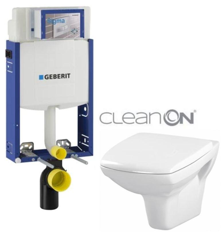 AKCE/SET/GEBERIT - Kombifix KOMBIFIX ECO pro závěsné WC, nádržka UP 320 bez Ovládací desky + WC CERSANIT CARINA CLEANON + SEDÁTKO (110.302.00.5 CA1)