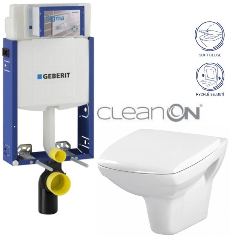 AKCE/SET/GEBERIT Kombifix KOMBIFIX ECO pro závěsné WC, nádržka UP 320 bez Ovládací desky + WC CERSANIT CARINA CLEANON + SEDÁTKO 110.302.00.5 CA2