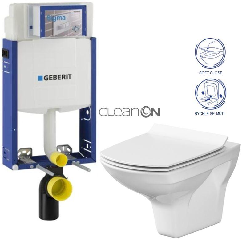 AKCE/SET/GEBERIT Kombifix KOMBIFIX ECO pro závěsné WC, nádržka UP 320 bez Ovládací desky + WC CERSANIT CARINA CLEANON + SEDÁTKO 110.302.00.5 CA3