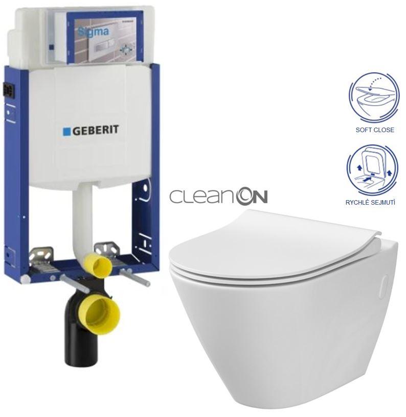 AKCE/SET/GEBERIT Kombifix KOMBIFIX ECO pro závěsné WC, nádržka UP 320 bez Ovládací desky + WC CERSANIT CITY CLEANON + SEDÁTKO 110.302.00.5 CI1