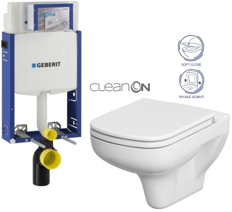 AKCE/SET/GEBERIT Kombifix KOMBIFIX ECO pro závěsné WC, nádržka UP 320 bez Ovládací desky + WC CERSANIT COLOUR CLEANON + SEDÁTKO 110.302.00.5 CN1