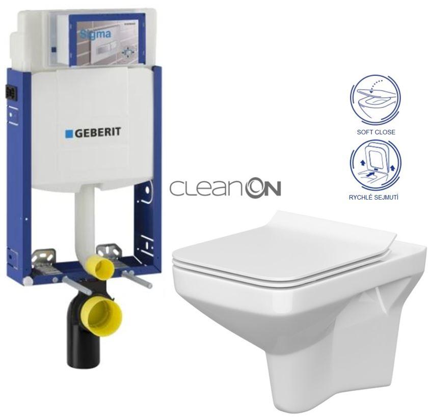 AKCE/SET/GEBERIT Kombifix KOMBIFIX ECO pro závěsné WC, nádržka UP 320 bez Ovládací desky + WC CERSANIT COMO CLEANON + SEDÁTKO 110.302.00.5 CO1