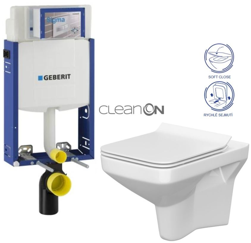 AKCE/SET/GEBERIT - Kombifix KOMBIFIX ECO pro závěsné WC, nádržka UP 320 bez Ovládací desky + WC CERSANIT COMO CLEANON + SEDÁTKO (110.302.00.5 CO1)
