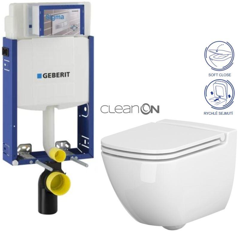 AKCE/SET/GEBERIT Kombifix KOMBIFIX ECO pro závěsné WC, nádržka UP 320 bez Ovládací desky + WC CERSANIT CASPIA CLEANON + SEDÁTKO 110.302.00.5 CP1