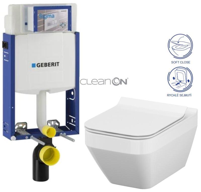 AKCE/SET/GEBERIT Kombifix KOMBIFIX ECO pro závěsné WC, nádržka UP 320 bez Ovládací desky + WC CERSANIT CREA ČTVEREC CLEANON + SEDÁTKO 110.302.00.5 CR2