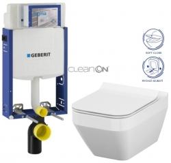 AKCE/SET/GEBERIT - Kombifix KOMBIFIX ECO pro závěsné WC, nádržka UP 320 bez Ovládací desky + WC CERSANIT CREA ČTVEREC CLEANON + SEDÁTKO (110.302.00.5 CR2)