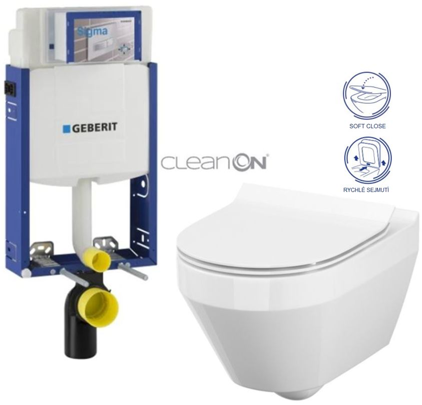 AKCE/SET/GEBERIT Kombifix KOMBIFIX ECO pro závěsné WC, nádržka UP 320 bez Ovládací desky + WC CERSANIT CREA OVÁL CLEANON + SEDÁTKO 110.302.00.5 CR1
