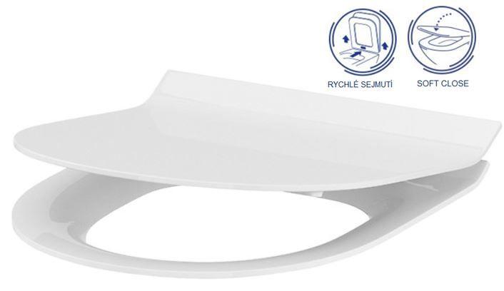 GEBERIT DuofixBasic s bílým tlačítkem DELTA21 + WC CERSANIT CLEANON CREA OVÁL + SEDÁTKO (458.103.00.1 21BI CR1)