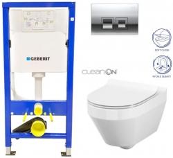 GEBERIT - SET Duofix Sada pro závěsné WC 458.103.00.1 + tlačítko DELTA50 CHROM + WC CERSANIT CREA OVÁL CLEANON + SEDÁTKO (458.103.00.1 50CR CR1)