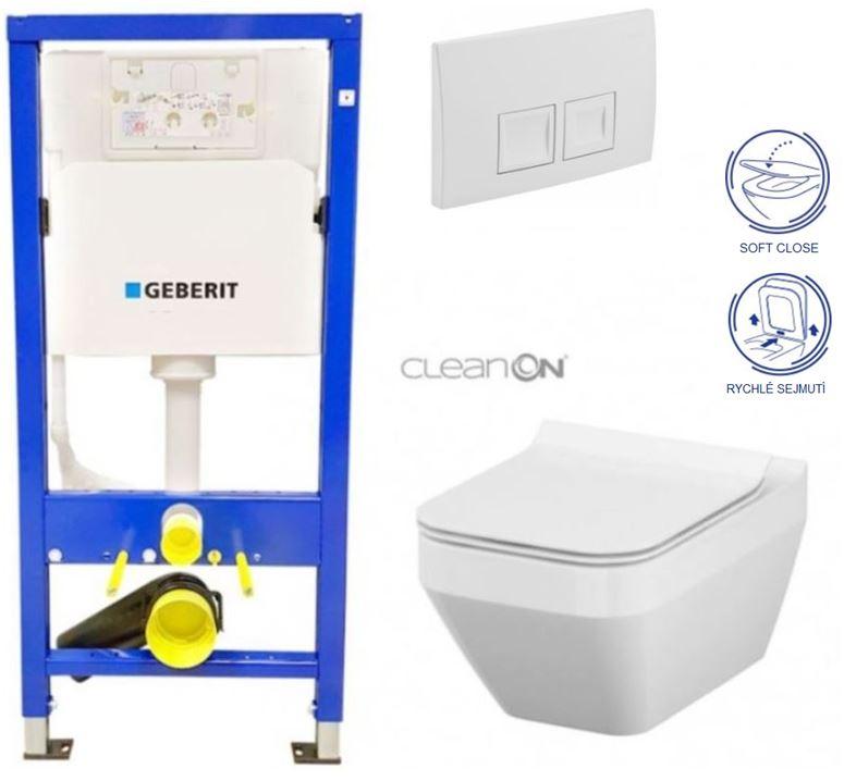 AKCE/SET/GEBERIT - Duofix Sada pro závěsné WC 458.103.00.1  + tlačítko DELTA50 bílé + WC CERSANIT CREA ČTVEREC CLEANON + SEDÁTKO (458.103.00.1 50BI CR2)