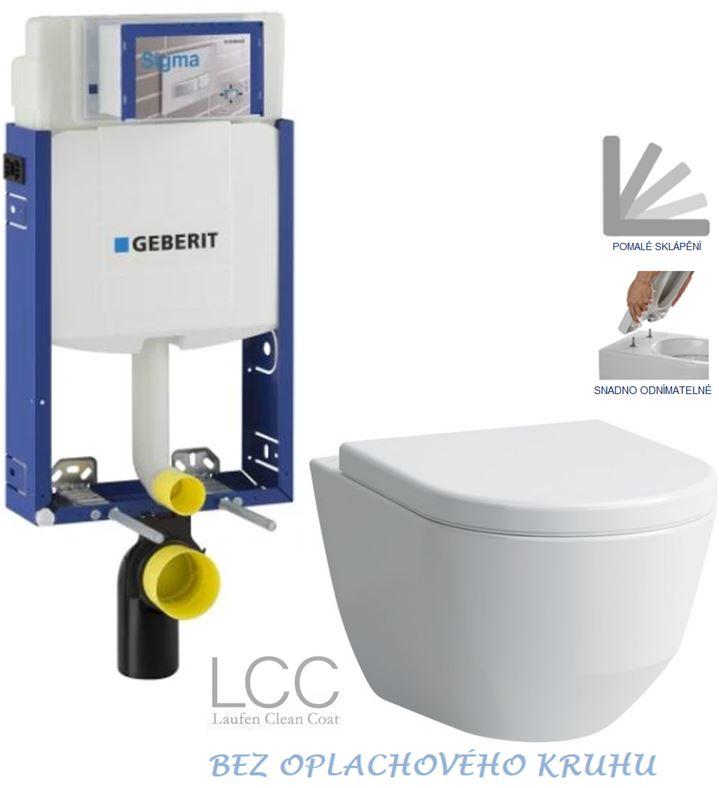 Kombifix KOMBIFIX ECO pro závěsné WC, nádržka UP 320 bez Ovládací desky + WC LAUFEN PRO LCC RIMLESS + SEDÁTKO (110.302.00.5 LP2) - AKCE/SET/GEBERIT