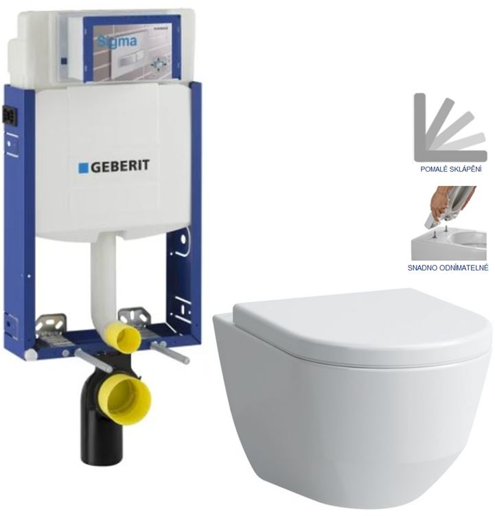 AKCE/SET/GEBERIT Kombifix KOMBIFIX ECO pro závěsné WC, nádržka UP 320 bez Ovládací desky + WC LAUFEN PRO + SEDÁTKO 110.302.00.5 LP3