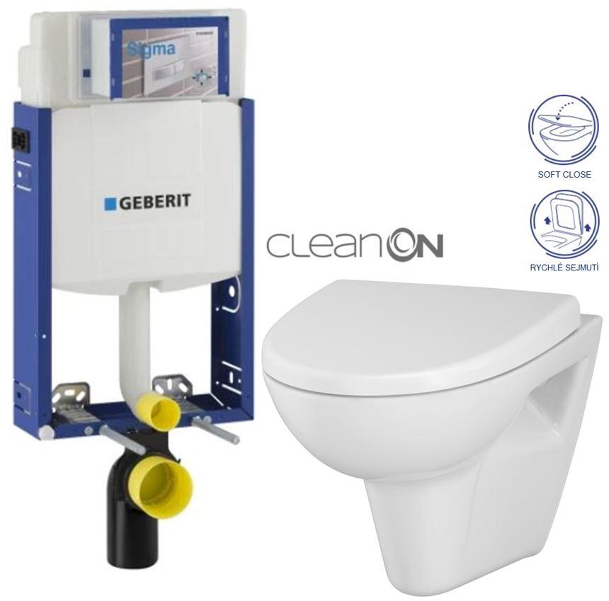 AKCE/SET/GEBERIT Kombifix KOMBIFIX ECO pro závěsné WC, nádržka UP 320 bez Ovládací desky + WC CERSANIT PARVA CLEANON + SEDÁTKO 110.302.00.5 PA1