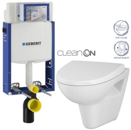 AKCE/SET/GEBERIT - SET Kombifix KOMBIFIX ECO pro závěsné WC, nádržka UP 320 bez Ovládací desky + WC CERSANIT PARVA CLEANON + SEDÁTKO (110.302.00.5 PA1)
