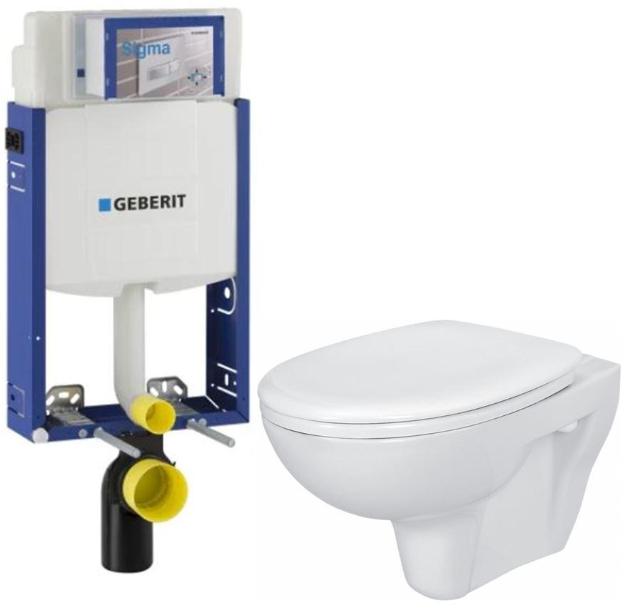 AKCE/SET/GEBERIT Kombifix KOMBIFIX ECO pro závěsné WC, nádržka UP 320 bez Ovládací desky + WC CERSANIT PRESIDENT + SEDÁTKO 110.302.00.5 PR1