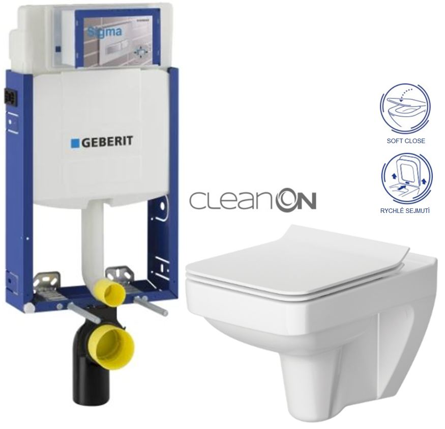 AKCE/SET/GEBERIT Kombifix KOMBIFIX ECO pro závěsné WC, nádržka UP 320 bez Ovládací desky + WC CERSANIT SPLENDOUR CLEANON + SEDÁTKO 110.302.00.5 SP1