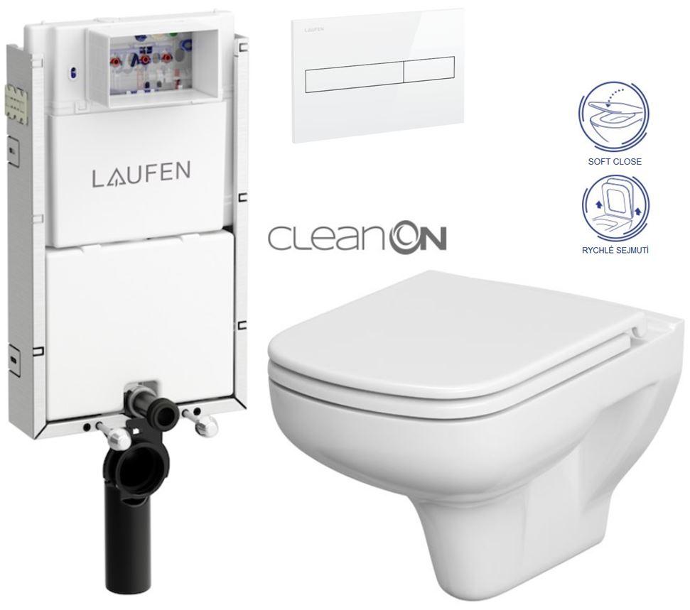 AKCE/SET/LAUFEN - Podomít. systém LIS TW1 SET BÍLÁ + ovládací tlačítko BÍLÉ + WC CERSANIT COLOUR CLEANON + SEDÁTKO (H8946630000001BI CN1)