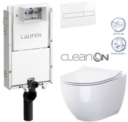 LAUFEN Podomít. systém LIS TW1 SET s bílým tlačítkem + WC CERSANIT ZEN CLEANON + SEDÁTKO (H8946630000001BI HA1)
