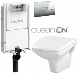 LAUFEN Podomít. systém LIS TW1 SET s chromovým tlačítkem + WC CERSANIT CLEANON CARINA  + SEDÁTKO (H8946630000001CR CA1)
