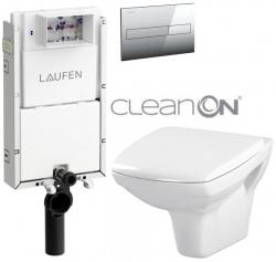 AKCE/SET/LAUFEN - Podomít. systém LIS TW1 SET + ovládací tlačítko CHROM + WC CERSANIT CARINA CLEANON + SEDÁTKO (H8946630000001CR CA1)