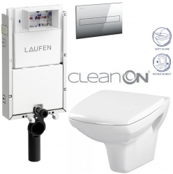 AKCE/SET/LAUFEN - Podomít. systém LIS TW1 SET + ovládací tlačítko CHROM + WC CERSANIT CARINA CLEANON + SEDÁTKO (H8946630000001CR CA2)