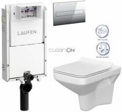 LAUFEN Podomít. systém LIS TW1 SET s chromovým tlačítkem + WC CERSANIT CLEANON COMO + SEDÁTKO (H8946630000001CR CO1)