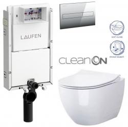 LAUFEN Podomít. systém LIS TW1 SET s chromovým tlačítkem + WC CERSANIT ZEN CLEANON + SEDÁTKO (H8946630000001CR HA1)
