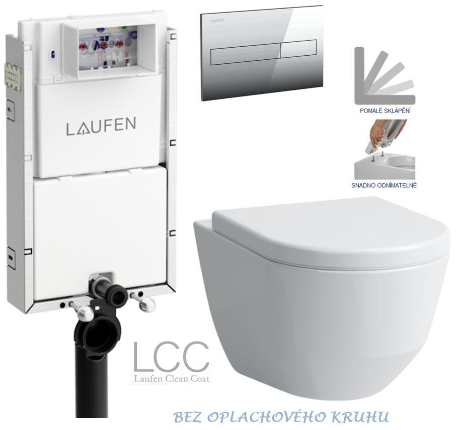 AKCE/SET/LAUFEN - Podomít. systém LIS TW1 SET + ovládací tlačítko CHROM + WC LAUFEN PRO LCC RIMLESS + SEDÁTKO (H8946630000001CR LP2)
