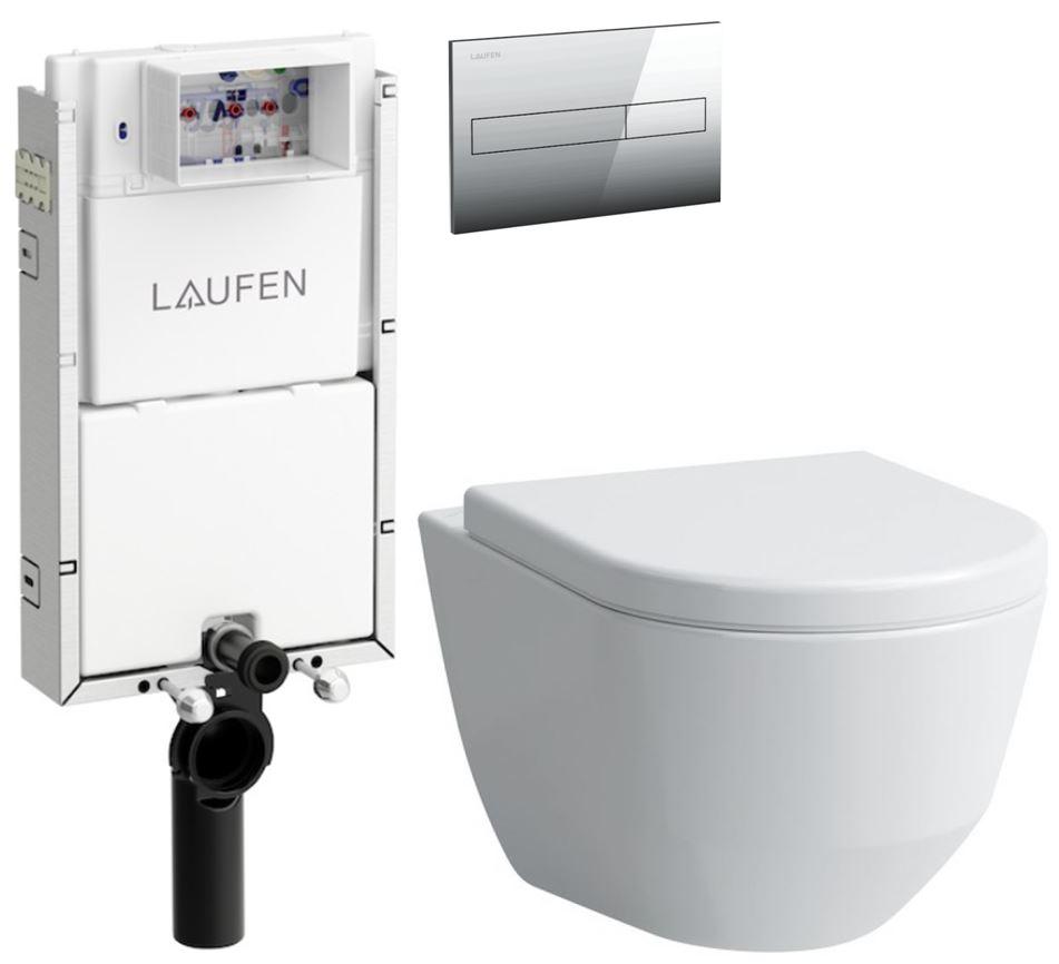 AKCE/SET/LAUFEN - Podomít. systém LIS TW1 SET + ovládací tlačítko CHROM + WC LAUFEN PRO LCC RIMLESS + SEDÁTKO (H8946630000001CR LP2), fotografie 4/10