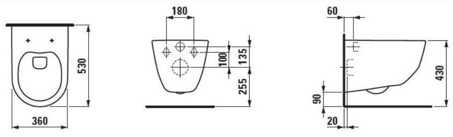 AKCE/SET/LAUFEN - Podomít. systém LIS TW1 SET + ovládací tlačítko CHROM + WC LAUFEN PRO LCC RIMLESS + SEDÁTKO (H8946630000001CR LP2), fotografie 8/10