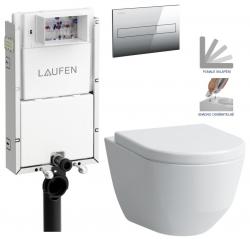 LAUFEN Podomít. systém LIS TW1 SET s chromovým tlačítkem + WC LAUFEN PRO + SEDÁTKO (H8946630000001CR LP3)