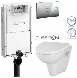 AKCE/SET/LAUFEN - Podomít. systém LIS TW1 SET + ovládací tlačítko CHROM + WC CERSANIT PARVA CLEANON + SEDÁTKO (H8946630000001CR PA1)