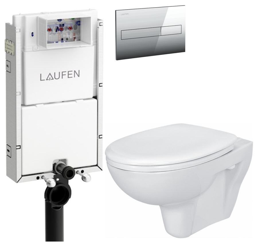 AKCE/SET/LAUFEN - Podomít. systé LIS TW1 SET + ovládací tlačítko CHROM + WC CERSANIT PRESIDENT + SEDÁTKO (H8946630000001CR PR1)