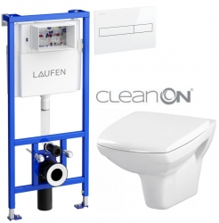 AKCE/SET/LAUFEN - Rámový podomítkový modul CW1  SET BÍLÁ + ovládací tlačítko BÍLÉ + WC CERSANIT CARINA CLEANON + SEDÁTKO (H8946600000001BI CA1)