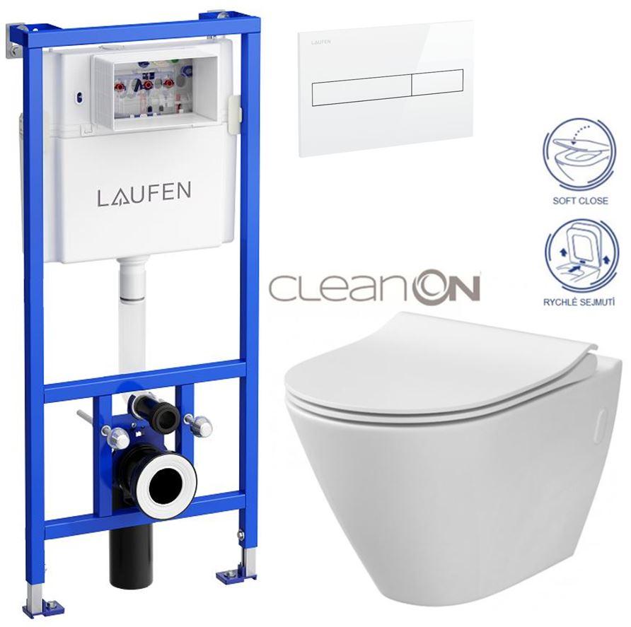 AKCE/SET/LAUFEN - Rámový podomítkový modul CW1  SET BÍLÁ + ovládací tlačítko BÍLÉ + WC CERSANIT CITY CLEANON + SEDÁTKO (H8946600000001BI CI1)