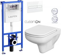 LAUFEN Rámový podomítkový modul CW1 SET s bílým tlačítkem + WC CERSANIT CLEANON COLOUR + SEDÁTKO (H8946600000001BI CN1)