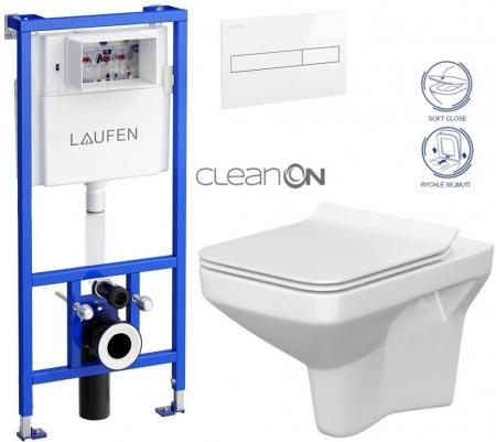 AKCE/SET/LAUFEN - Rámový podomítkový modul CW1  SET BÍLÁ + ovládací tlačítko BÍLÉ + WC CERSANIT COMO CLEANON +SEDÁTKO (H8946600000001BI CO1)