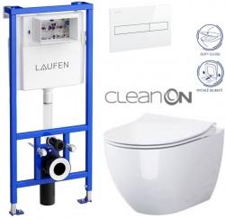 LAUFEN Rámový podomítkový modul CW1 SET s bílým tlačítkem + WC CERSANIT ZEN CLEANON + SEDÁTKO (H8946600000001BI HA1)