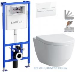 Rámový podomítkový modul CW1  SET BÍLÁ + ovládací tlačítko BÍLÉ + WC LAUFEN PRO RIMLESS + SEDÁTKO (H8946600000001BI LP1) - AKCE/SET/LAUFEN