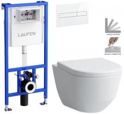 AKCE/SET/LAUFEN - Rámový podomítkový modul CW1  SET BÍLÁ + ovládací tlačítko BÍLÉ + WC LAUFEN PRO + SEDÁTKO (H8946600000001BI LP3)