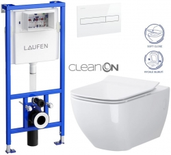 AKCE/SET/LAUFEN - Rámový podomítkový modul CW1  SET BÍLÁ + ovládací tlačítko BÍLÉ + WC OPOCZNO METROPOLITAN CLEANON + SEDÁTKO (H8946600000001BI ME1)