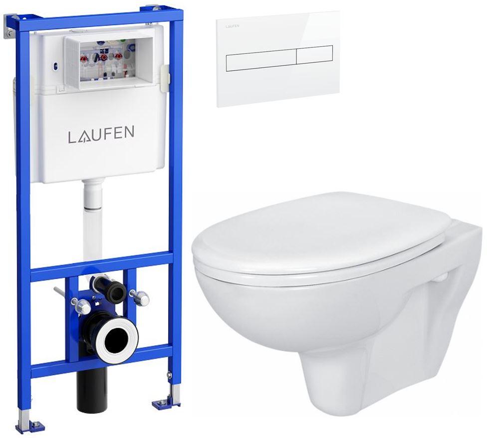 AKCE/SET/LAUFEN - Rámový podomítkový modul CW1  SET BÍLÁ + ovládací tlačítko BÍLÉ + WC CERSANIT PRESIDENT + SEDÁTKO (H8946600000001BI PR1)