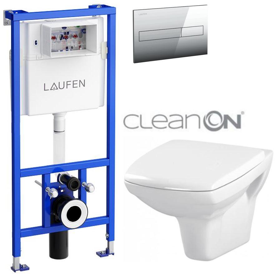 AKCE/SET/LAUFEN - Rámový podomítkový modul CW1  SET + ovládací tlačítko CHROM + WC CERSANIT CARINA CLEANON + SEDÁTKO (H8946600000001CR CA1)