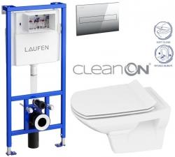 AKCE/SET/LAUFEN - Rámový podomítkový modul CW1  SET + ovládací tlačítko CHROM + WC CERSANIT CARINA CLEANON + SEDÁTKO (H8946600000001CR CA3)