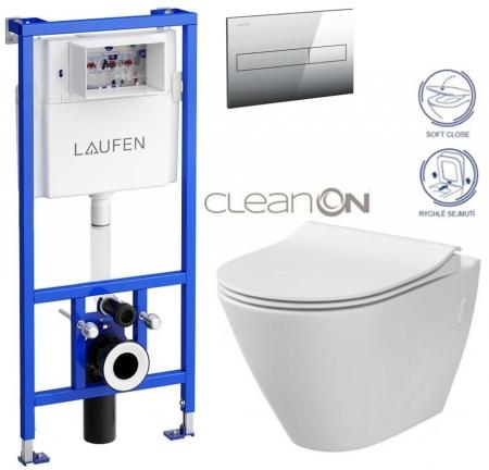 AKCE/SET/LAUFEN - Rámový podomítkový modul CW1  SET + ovládací tlačítko CHROM + WC CERSANIT CITY CLEANON + SEDÁTKO (H8946600000001CR CI1)