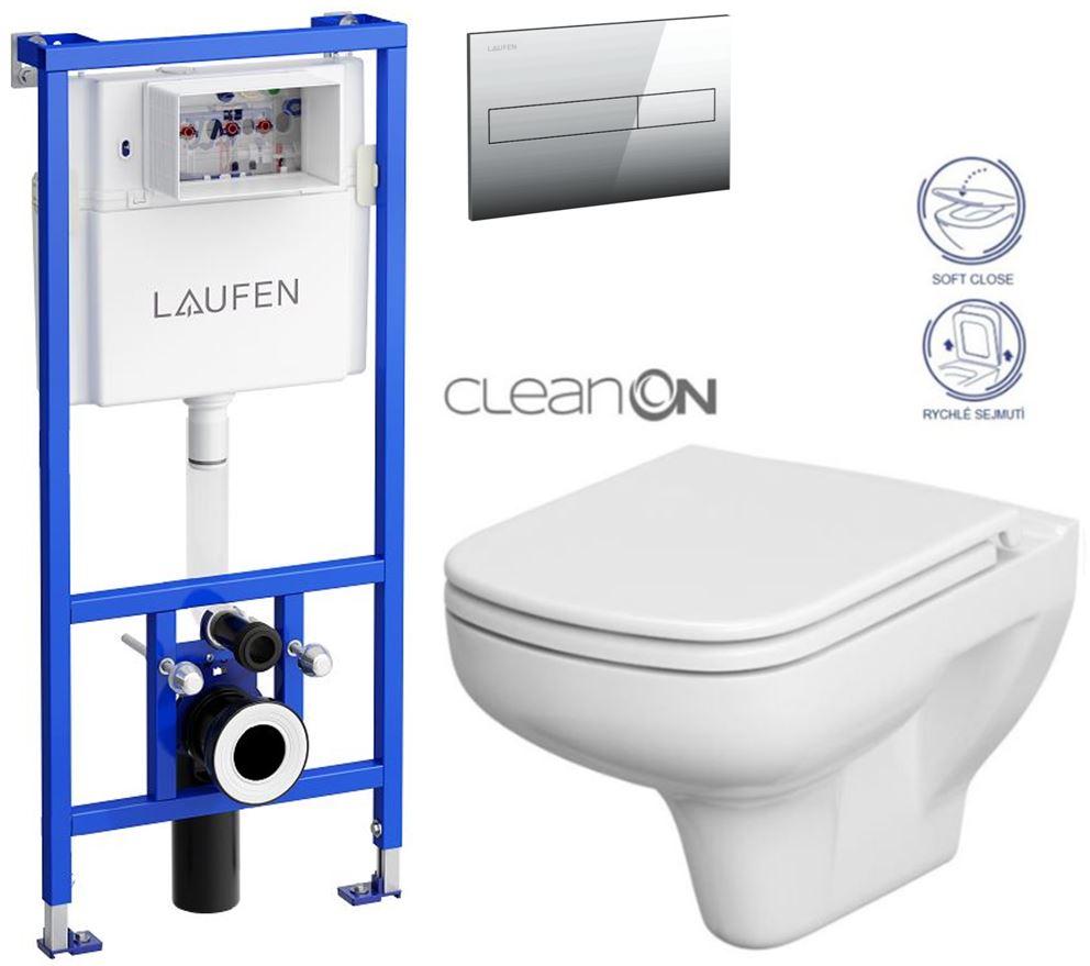 AKCE/SET/LAUFEN - Rámový podomítkový modul CW1  SET + ovládací tlačítko CHROM + WC CERSANIT COLOUR CLEANON + SEDÁTKO (H8946600000001CR CN1)